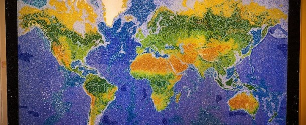 Glittering mosaic of the world map