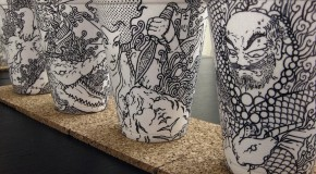 Detailed Illustrations Drawn on Foam Coffee Cups