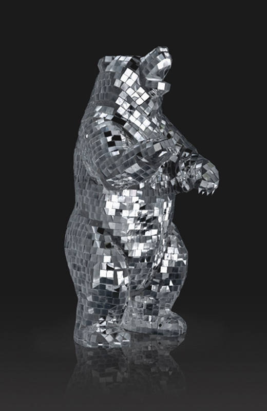 Creative visual art mirrored geometric wolf sculpture by