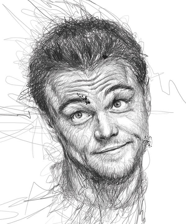 Scribble Drawing Celebrity Portrait By Vince Low : Creative visual art celebrity portraits drawn using